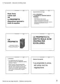 La proprieta: disposizioni reali e modi d'acquisto - I diritti reali