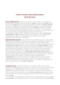 Modulo Formativo Storia della disciplina