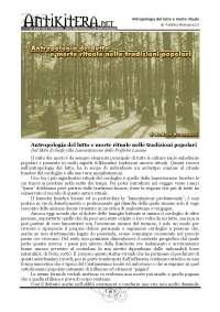 Antropologia Del Lutto e Morte Rituale nelle popolazioni arcaiche
