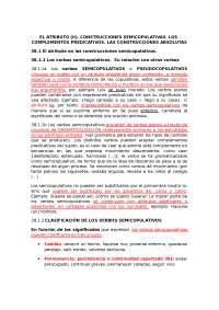 El Atributo, Construcciones Semicopulativas, Complementos Predicativos, Construcciones Absolutas - Sintaxis del Español - Apuntes