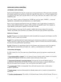 Lengua Española - Apuntes - Característica Generales de la Lengua Española