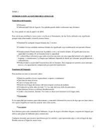 Introducción al Estudio de la Lengua - Apuntes - Lingüística, Pragmática, Tipología Textual, Semántica, Categorías, Funciones