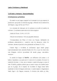 Latín Cristiano y Medieval - Historia de la Lengua - Apuntes - UGR - Parte 1