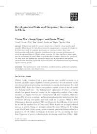 Developmental State and Corporate Governance in China - nee, opper, wong