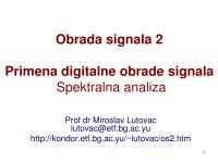 Slajdovi-Obrada signala 2-Elektrotehnicki fakultet ot3os2_6_primena_spektar