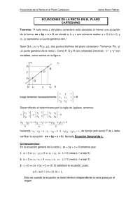 Ecuaciones de la recta en el plano cartesiano - Geometria analitica - Ejercicios - Grado Medio