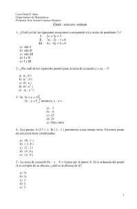 La recta, seleccion multiple - Geometria analitica - Ejercicios - Grado Medio