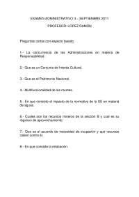 Derecho Administrativo II - Examen - Septiembre 2011 López Ramón - Universidad de Zaragoza