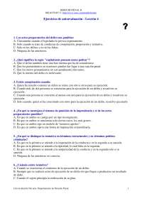Derecho Penal II - Examen - Ejercicio de Autoevaluación Lección 4 - Universidad de Navarra