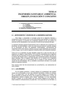 Ingenieria sanitaria y ambiental. Origen, evolucion y concepto - Ingenieria sanitaria y ambiental - Apuntes - Tema 0