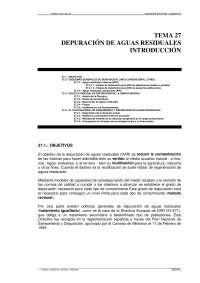 Depuracion de aguas residuales. Introduccion - Ingenieria sanitaria y ambiental - Apuntes - Tema 27