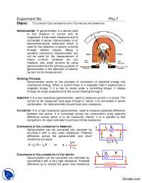 Conversion of Galvanometer to Ammeter and Voltmerter-Basic Electrical Engineering-Lab Mannual