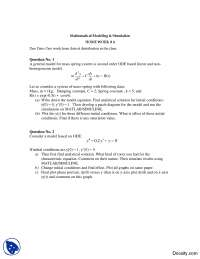 Second Order Ordinary Differential Equations-Mathematical Modeling and Simulation-Homework