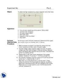 Determine High Resistance Using a Capacitor and a Flashlamp-Basic Electrical Engineering-Lab Mannual