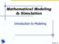 Introduction to Modeling-Mathematical Modeling and Simulation-Lecture Slides