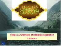 Physics and Chemistry of Radiation Absorption-Radiation Biology-Lecture Slides