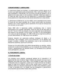 Comunitarismo y liberalismo - Historia Política y Social Contemporánea - Study Notes - Universidad Pública de Navarra