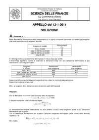 ESAME DI SCIENZA DELLE FINANZE  12-01-11 - SOLUZIONE