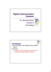 Formatting-Digital Communication Systems-Lecture Slides