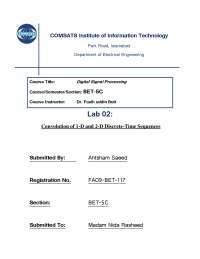 Convolution of 1_D and 2_D Discrete Time Sequences-Digital Signal Processing-Lab Report