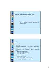 Rendimientos de Actividades Económicas - Derecho Financiero II - Apuntes del IRPF - Profesor Andrés García