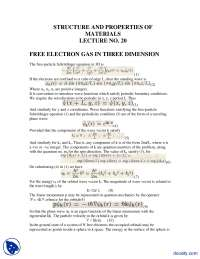 Free Electron Gas in Three Dimension-Mechanics of Materials-Handout