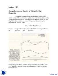 Energy Levels And Density of Obitals In One Dimension-Mechanics of Materials-Handout