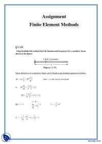 Rayleigh Ritz Method 3-Finite Element Method-Assignment Solution