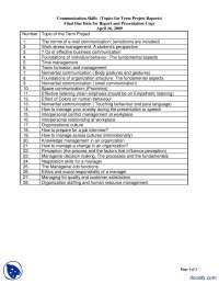 Term Project Topics-Communication Skills-Handout
