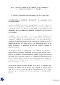 Derecho de la Informática, Informática Jurídica e Internet - Derecho Informático - Apuntes - Profesora López Zamora