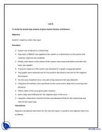 System's Response Under Step Input-Linear Control Systems-Lab Report