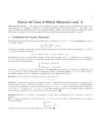 Esercitazione ed Esercizi - Metodi Matematici Della Fisica - Teoria ed Esercizi