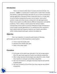 Boiler-Linear Control Systems-Lab Report