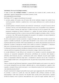 Riassunto corso Sociologia dei processi economici e del lavoro - Esame sul primo volume del Triglia