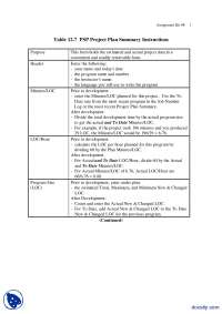 PSP Project Plan Summary Instructions, Codes and Instructions-Software Quality-Handout