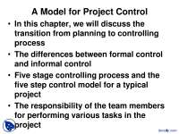 A Five Step Model for Project Control-Project Management-Lecture Slides