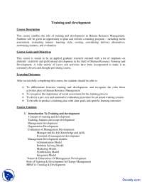 Course Outline-Traning and Development-Course Outline