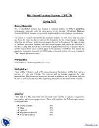 Course Overview-Distributive Database-Handout