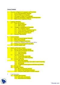 Course Contents-Compiler Construction-Handout