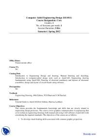 Course Outline-Computer Aided Engineering Design-Handout
