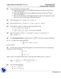 Exact Differential Equations-Applied Differential Equations-Assignment