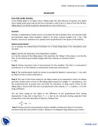 Free Fall under Gravity-Modeling and Simulation-Lecture Handouts