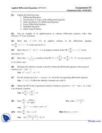 Linear Equations, Initial Value Problems-Differential Equation Application-Assignment