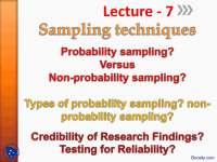 Sampling Techniques-Operational Resarch -Lecture Slides