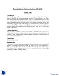 Course Outline-Introduction to Database-Handout