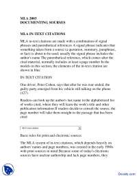 MLA in Text Citations-Communication in Business-Lecture Handout