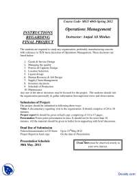 Instructions for Final Project-Operation Managment-Lecture Handout