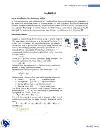 Spring Mass System(Undamped System)-Modeling and Simulation-Lecture Handouts