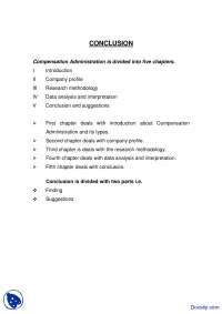 Conclusion Sample Compensation Administration-Resarch Methodology-Handout