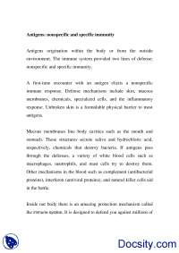 Antigens Nonspecific and Specific Immunity-Biotechnology-Handout